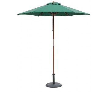 7' Wood Market Umbrella - Hunter Green