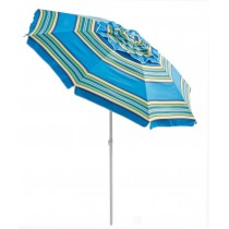 7' Beach Tilt Umbrella Blue Stripe