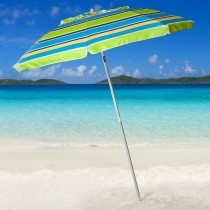 7' Lime Stripe Beach Umbrella