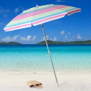 7' Pink Stripe Beach Umbrella