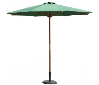 9' Wood Market Umbrella - Hunter Green
