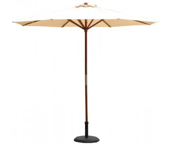9' Wood Market Umbrella - Khaki