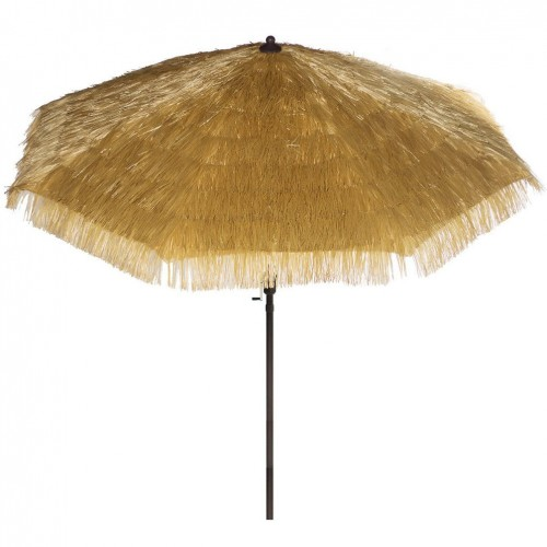 9u0027 Tiki Umbrella Hawaiian Design Umbrella Crank Thatch Patio Umbrella    Tropical Palapa Raffia Tiki Hut Hula Umbrella