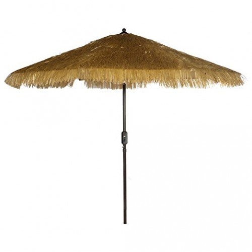 Superbe 9u0027 Tiki Umbrella Hawaiian Design Umbrella Crank Thatch Patio Umbrella    Tropical Palapa Raffia Tiki Hut Hula Umbrella