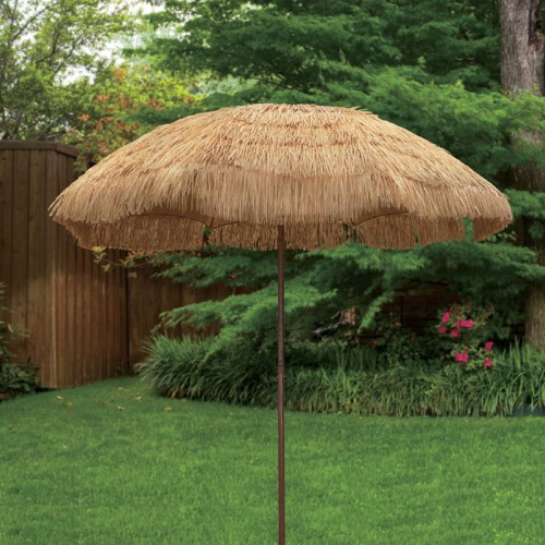 Delicieux 6.5u0027 Tiki Hawaiian Design Hula Umbrella Thatch Patio Beach Umbrella W/  Press Button Tilt UV Protection
