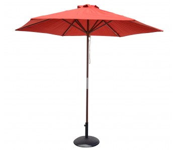 9' Wood Market Umbrella - Wine Red