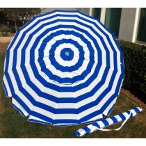 8' Royal Blue Stripes Tilt Beach Market Umbrella