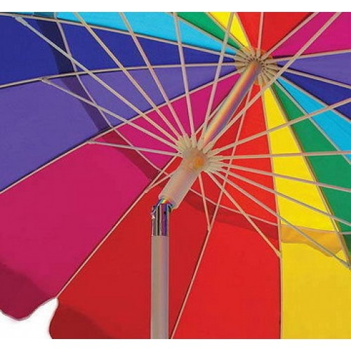 Beach Umbrella With Sand Anchor Uv Protected Vented Outdoor Shade 8 Ft Rainbow Carry Bag